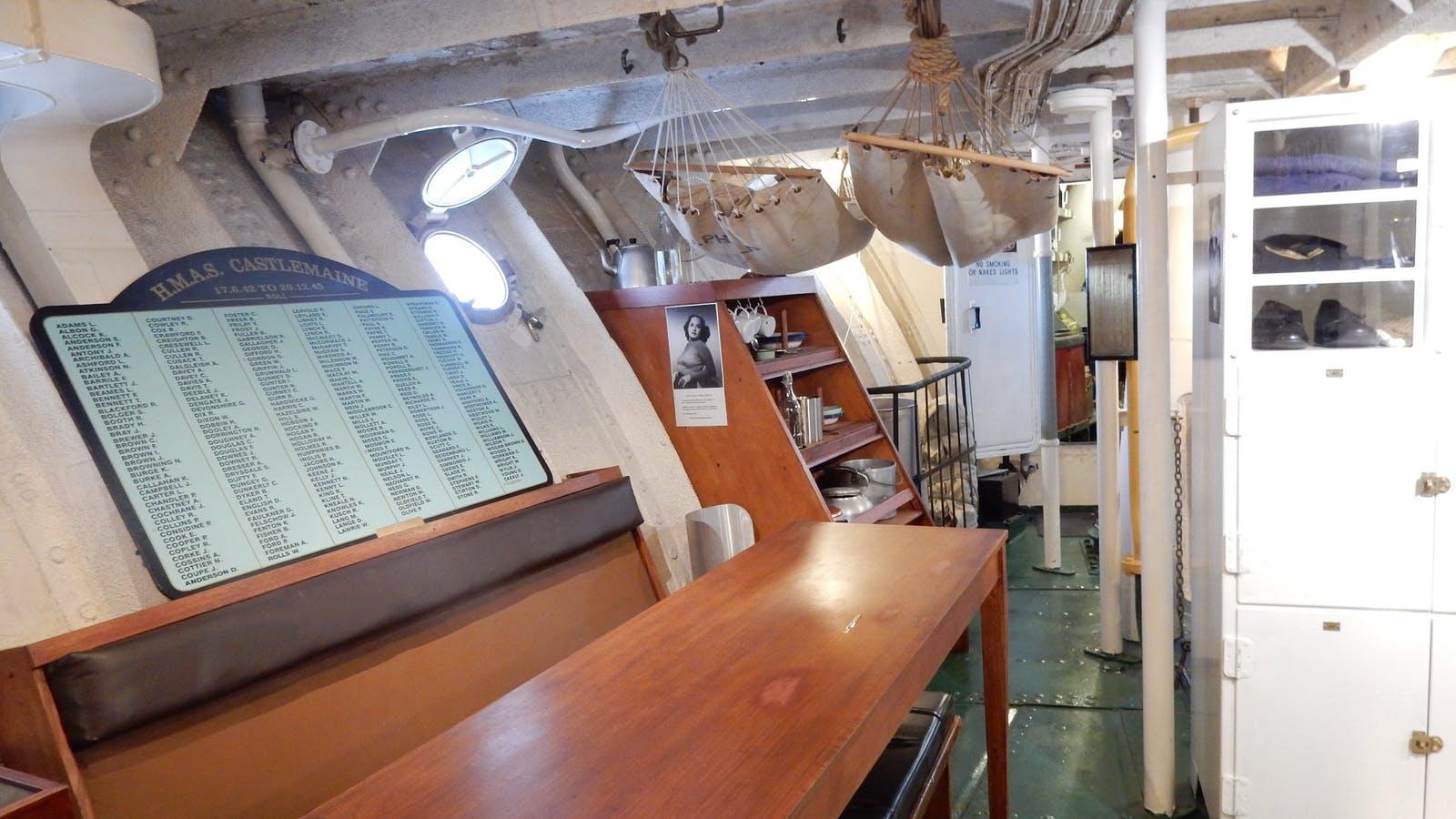 HMAS Castlemaine Museum Ship Mess Deck - Restored Crew Space