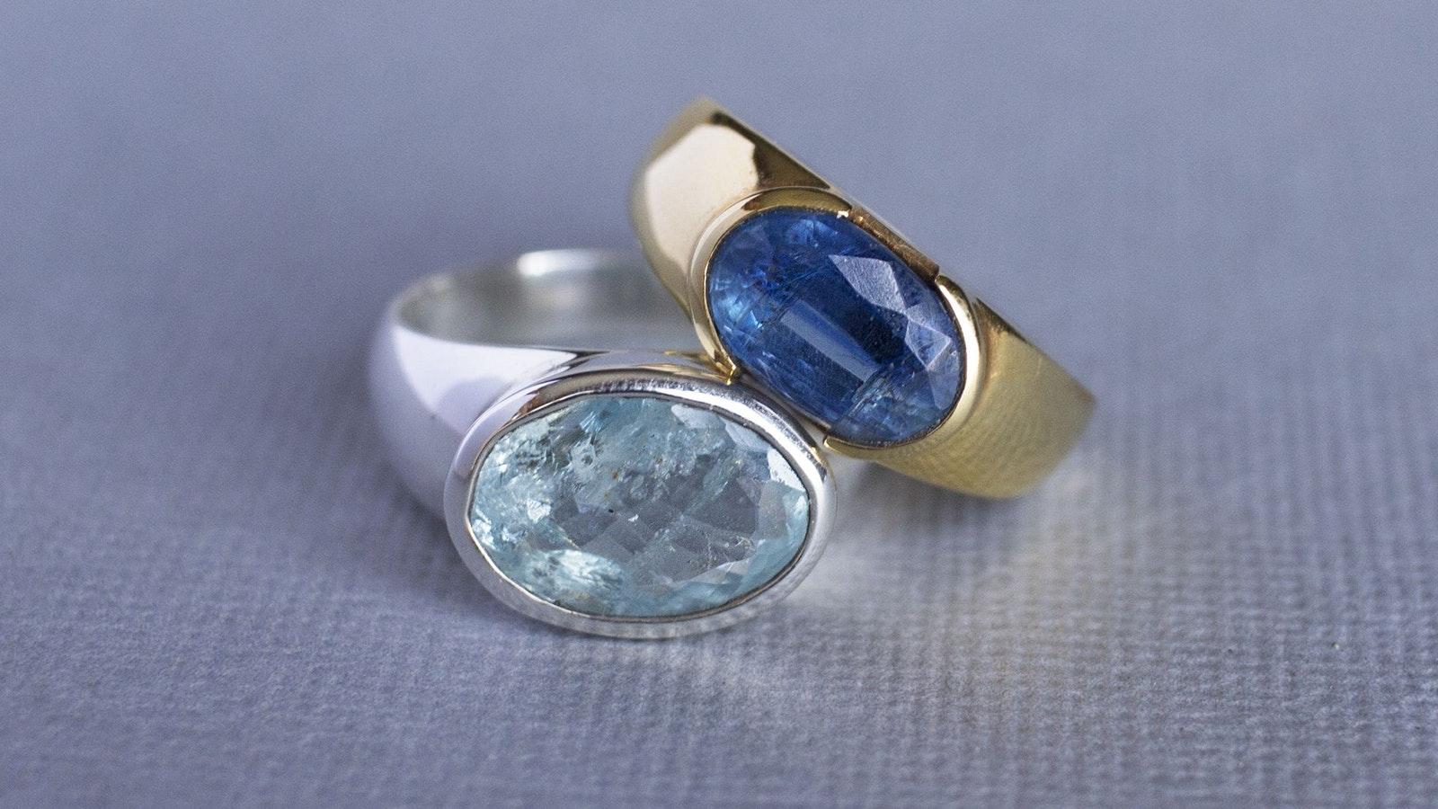 Men's  rings with Kyanite and Aquamarine