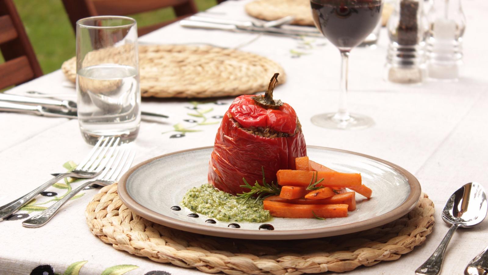Greek Pepper Stuffed w/ Lamb Mince & Rice served w/ Homemade Basil Pesto