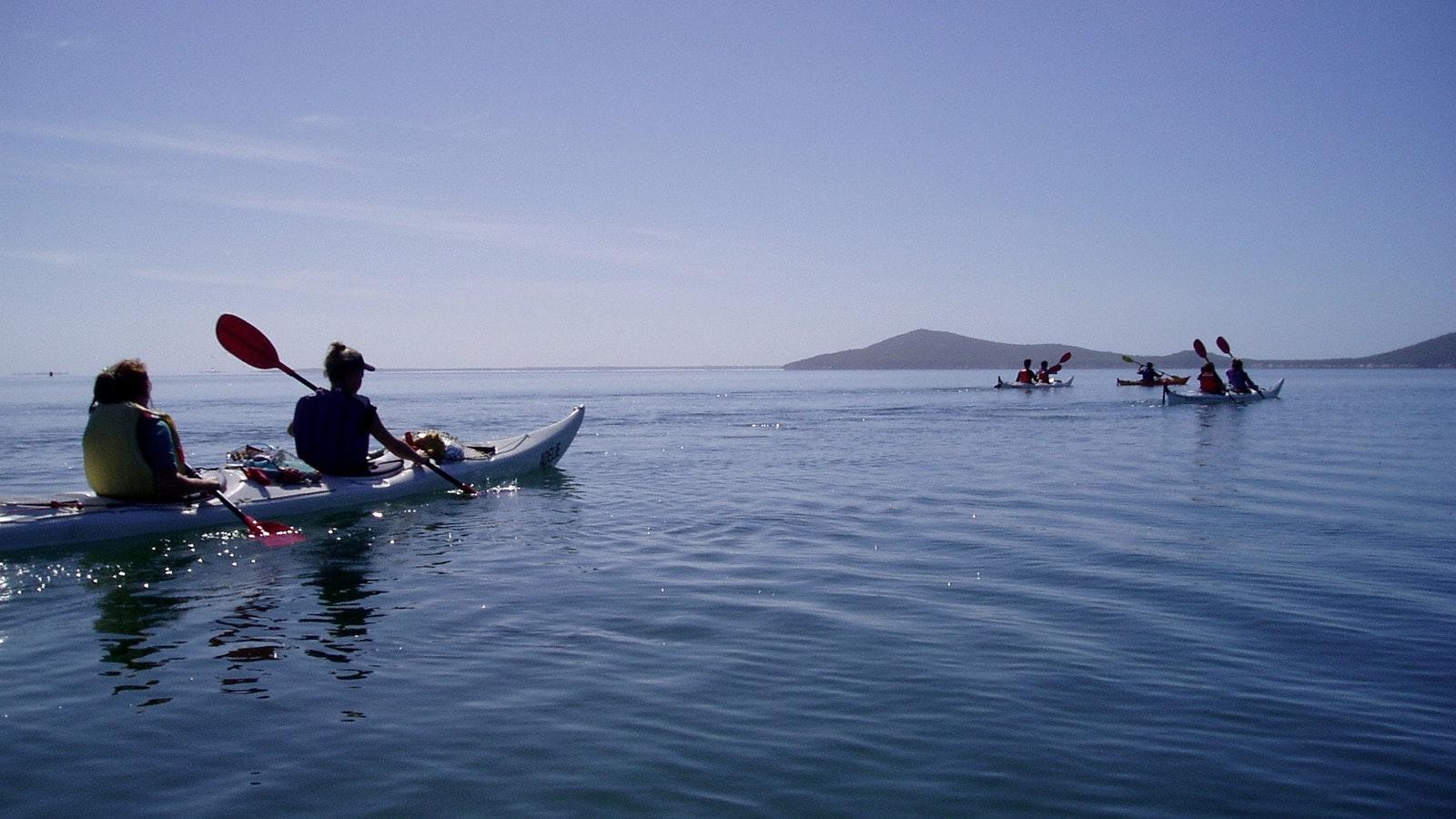 Kayaking towards Tin mine Cove