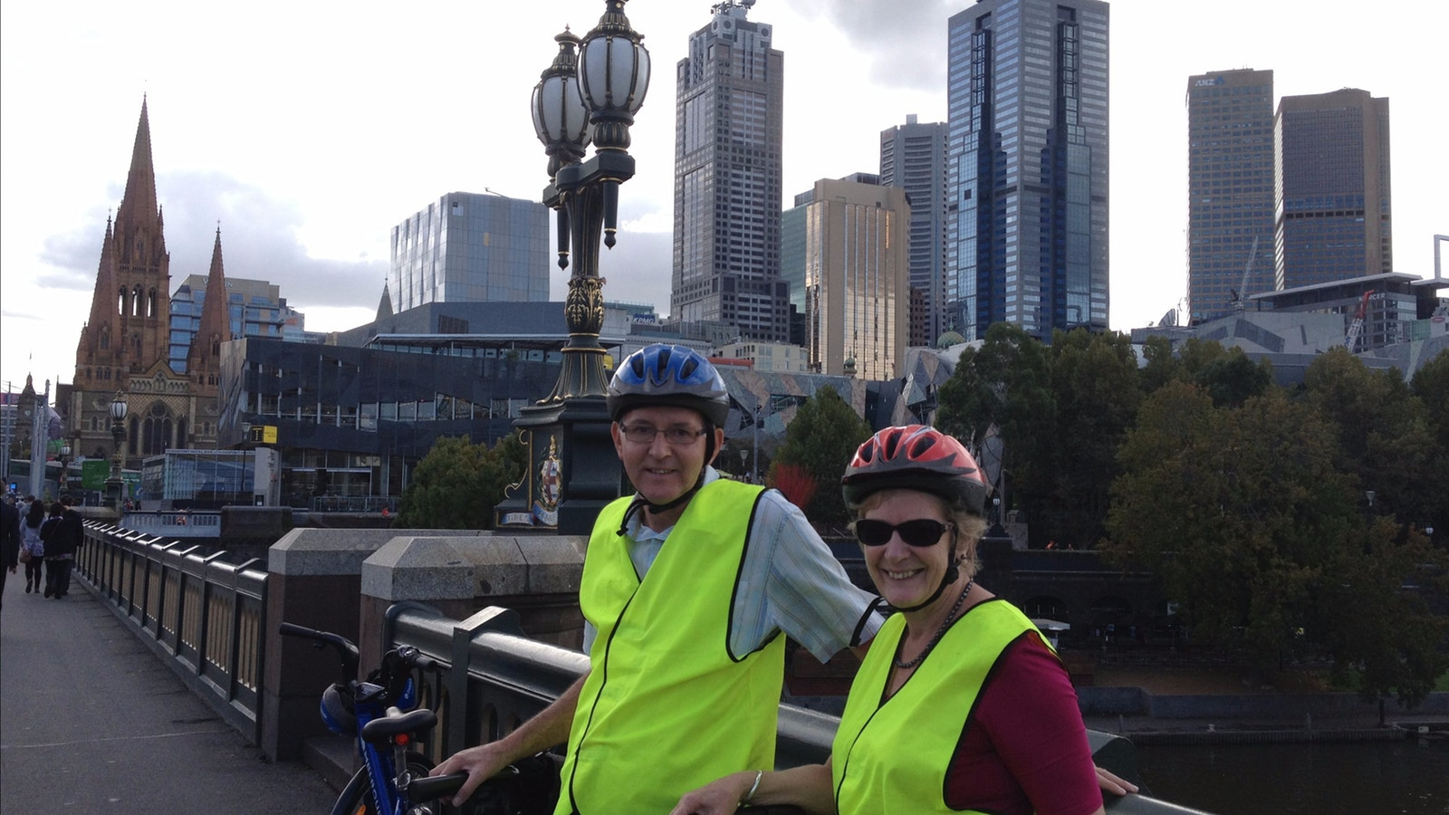 2 guests Riding into Melbourne city