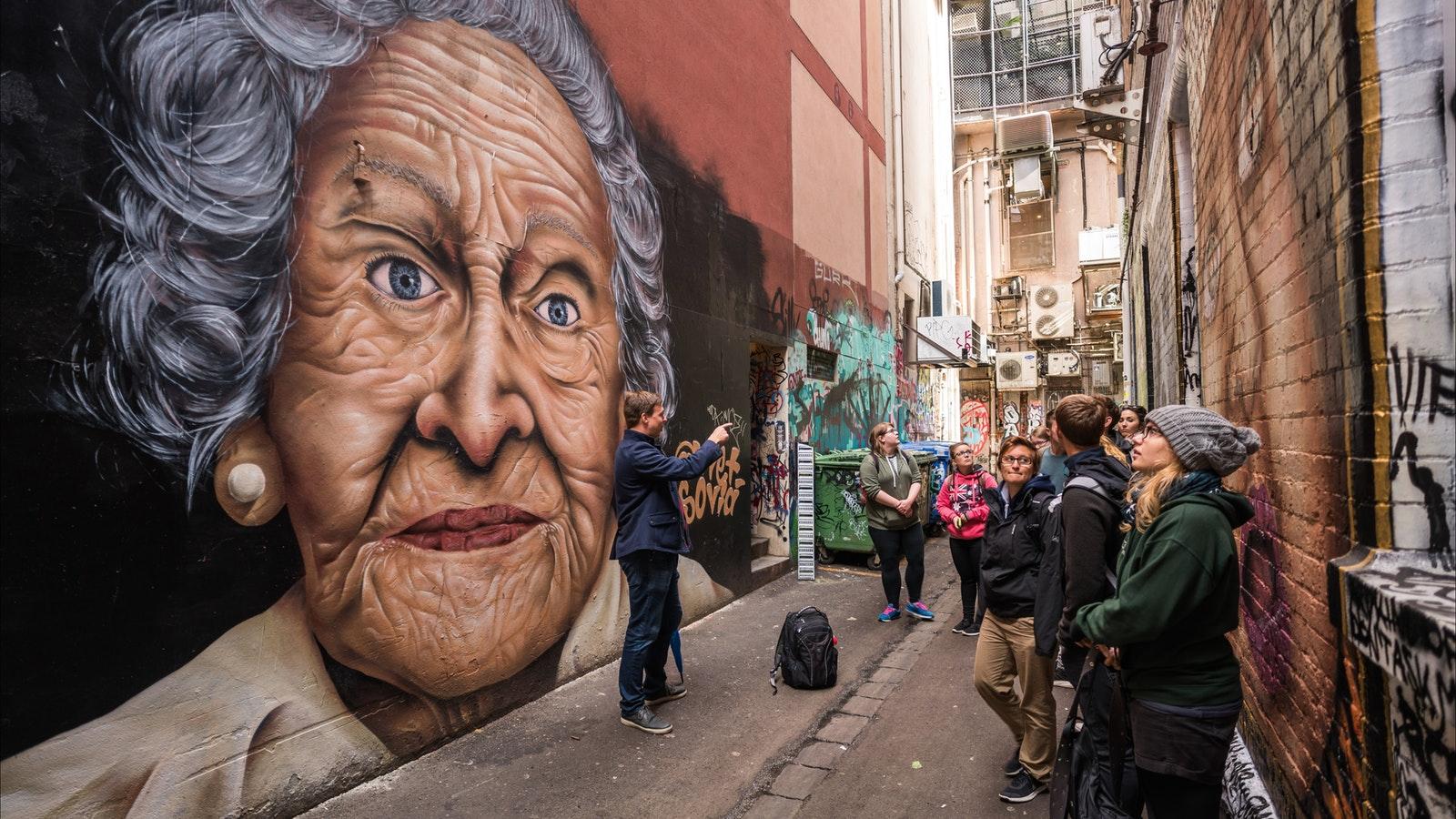 John profiles Melbourne's street art on the Walks 101 Free Walking Tour