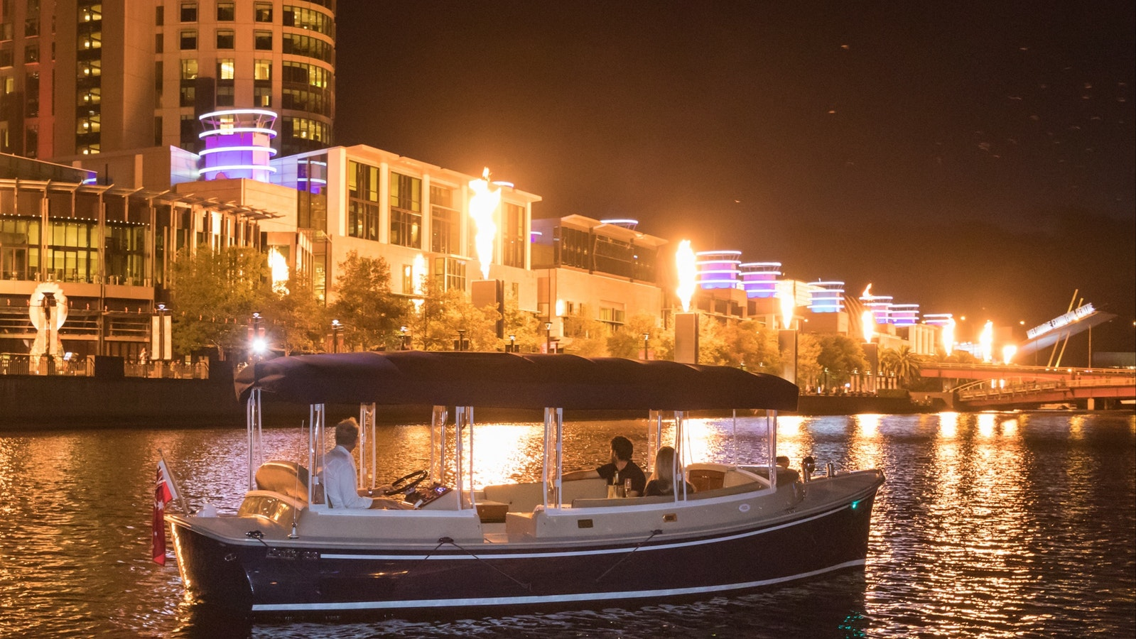 See the crown flames on your private Yarra River cruise