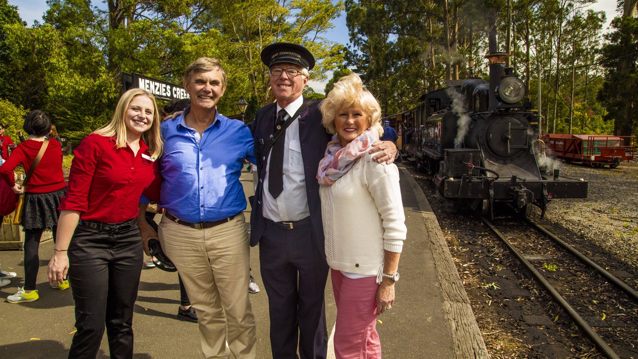AAT Kings guide and guests with Puffing Billy Steam Train Driver
