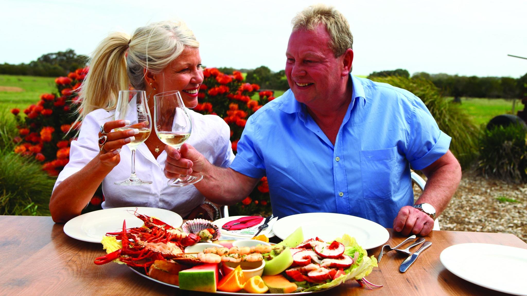 AAT Kings guests enjoying food and wine on Kangaroo Island