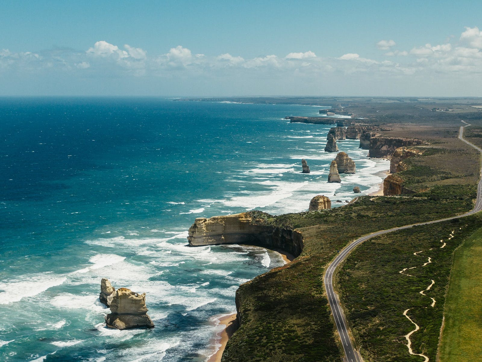 Aerial photograph over the 12 Apostles, Great Ocean Road