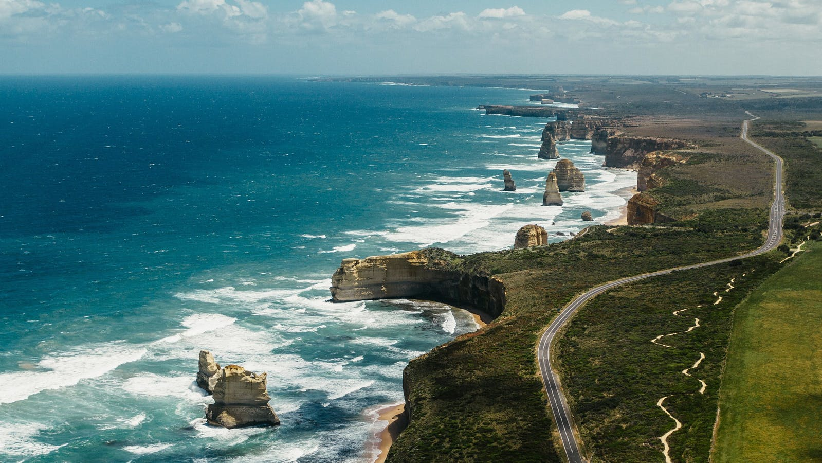 Aerial photograph of the Great Ocean Road & 12 Apostles