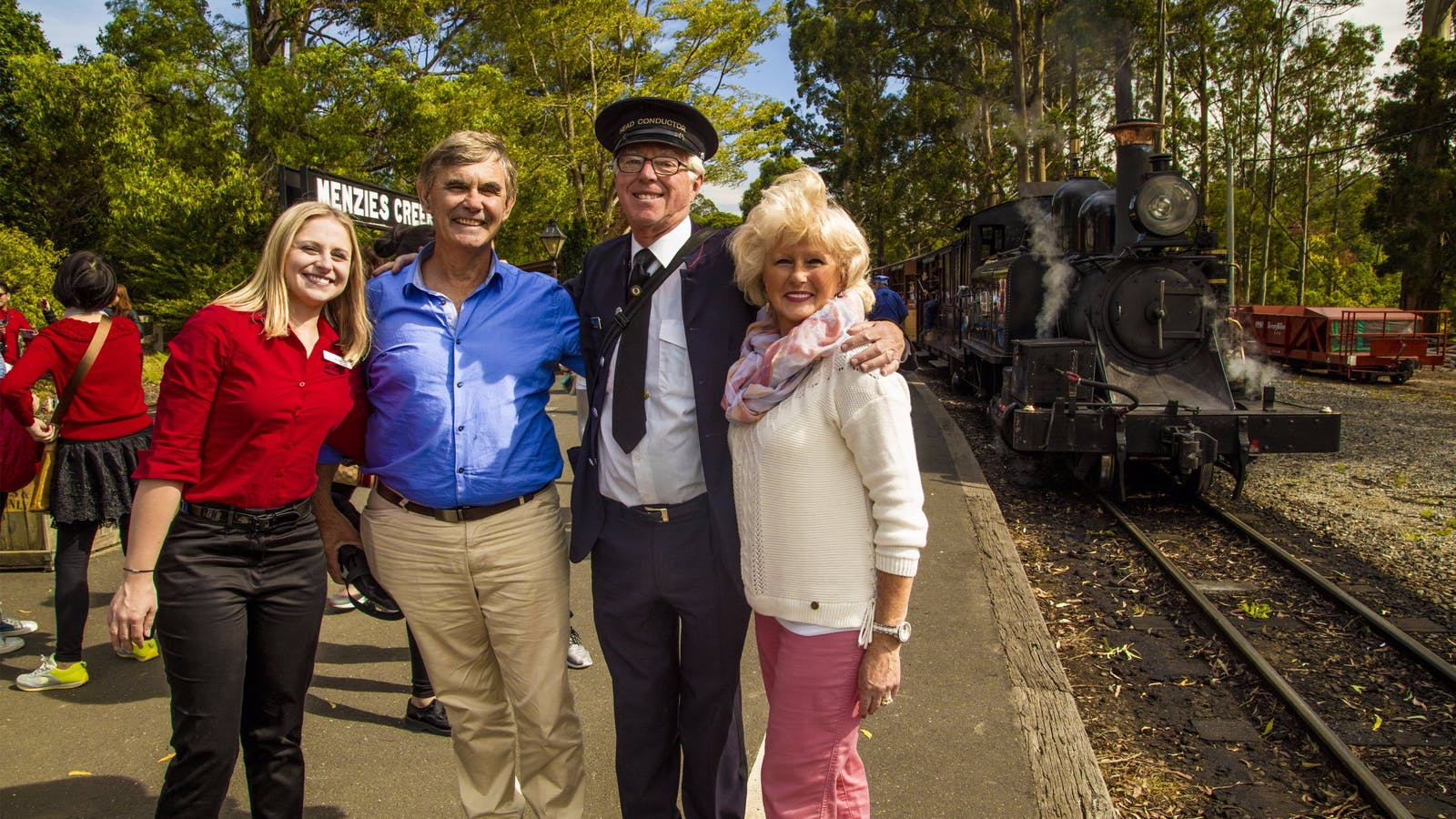 AAT Kings guide and guests with Puffing Billy Steam Train