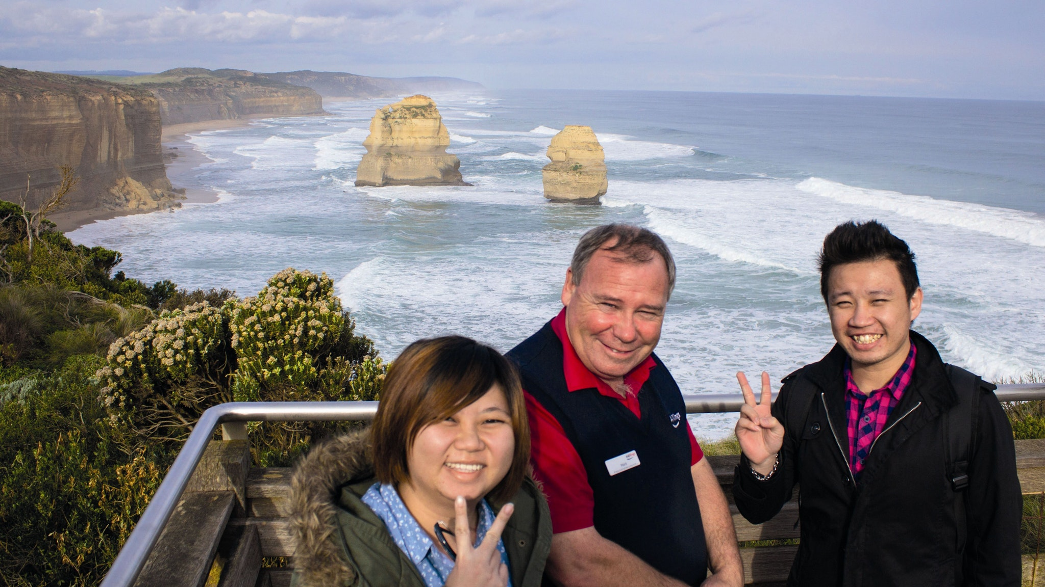 AAT Kings guide and guests at the Twelve Apostles