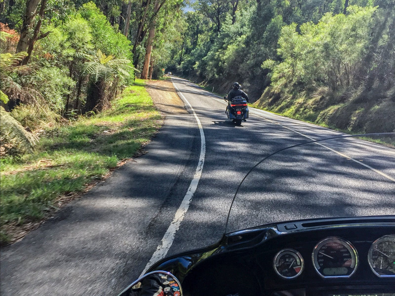 There are no unobstructed views when you are a pillion passenger on a Harley Davidson motorcycle