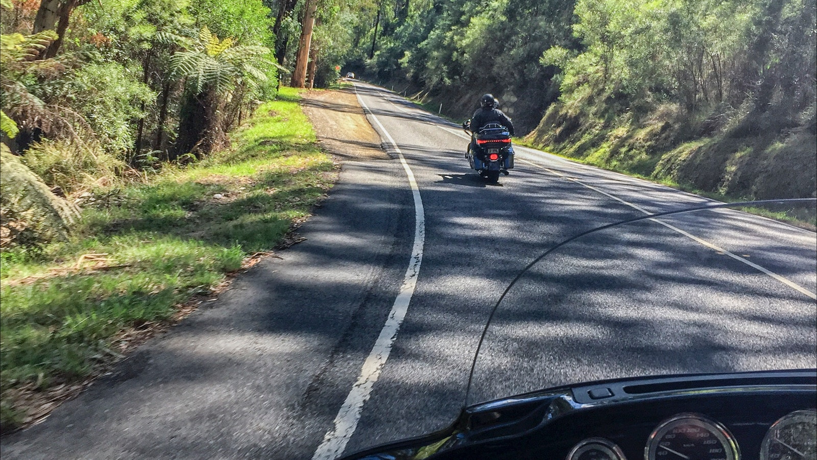Ride to the hills outside Melbourne  as a pillion passenger on a Harley Davidson motorbike