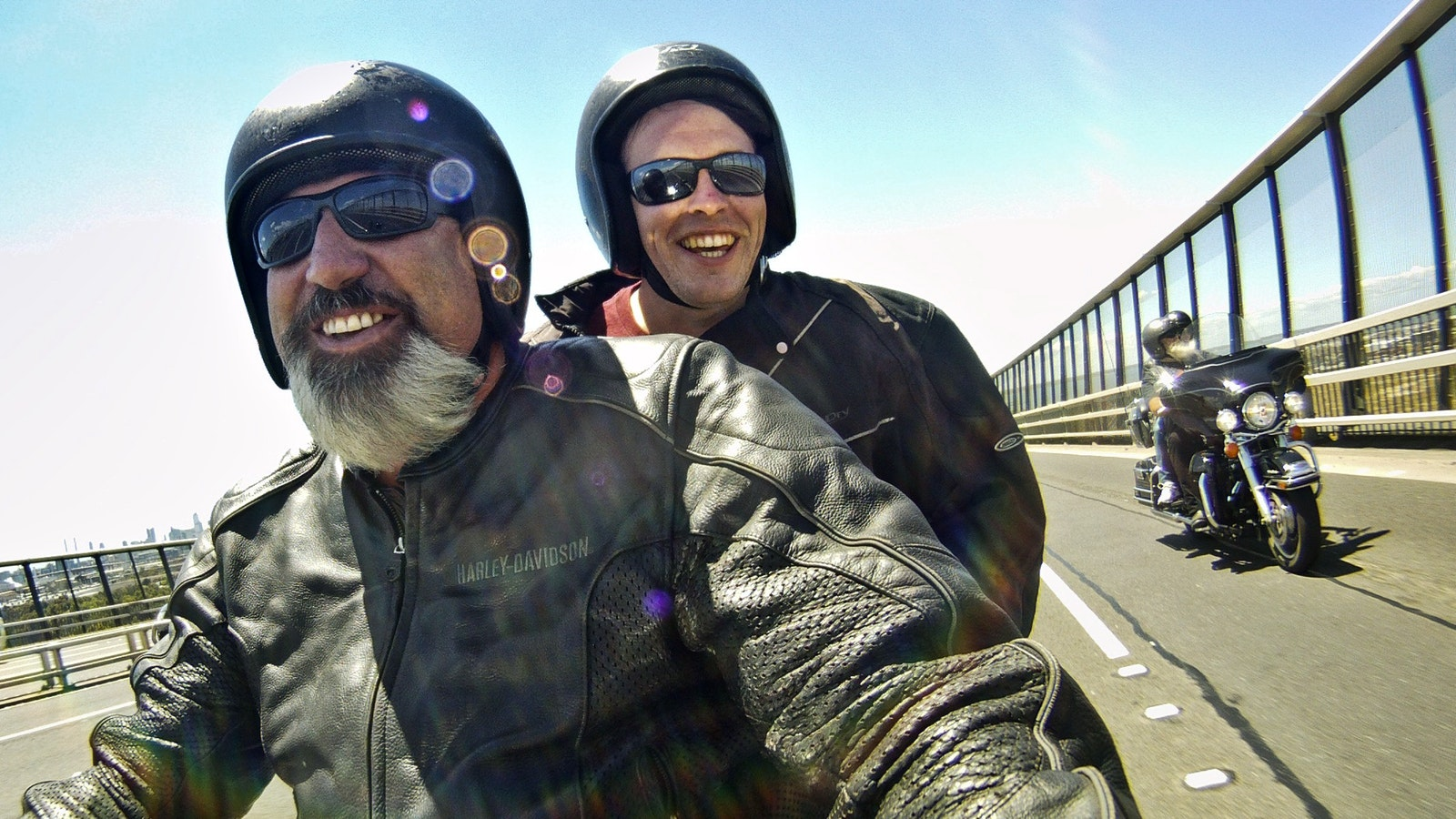 Heading over the Westgate Bridge on Harleys to the Great Ocean Road
