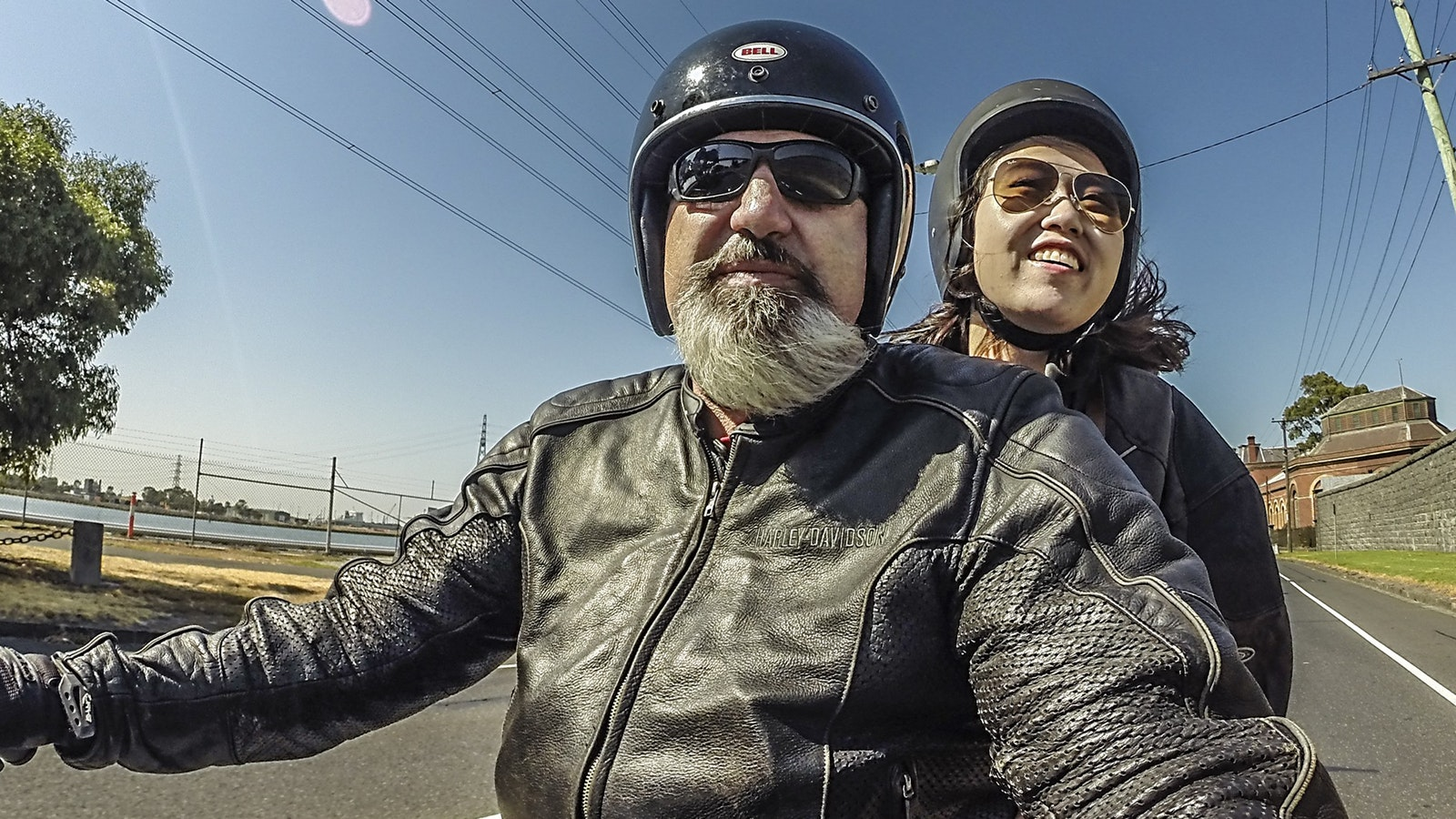 The joy of riding as a passenger on a Harley Davidson and the smile we put on peoples faces.