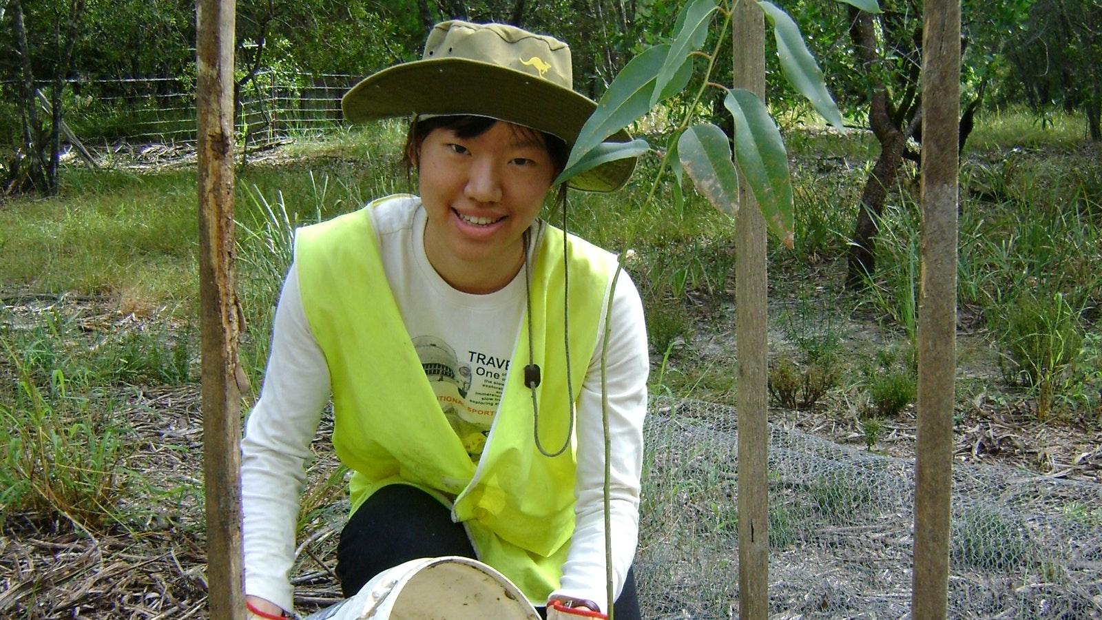 Volunteer watering trees