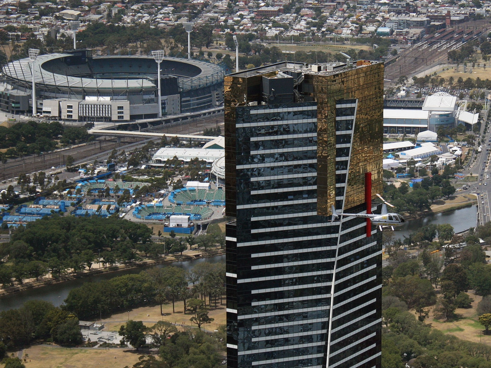 The MCG and Eureka Building seen from the helicopter