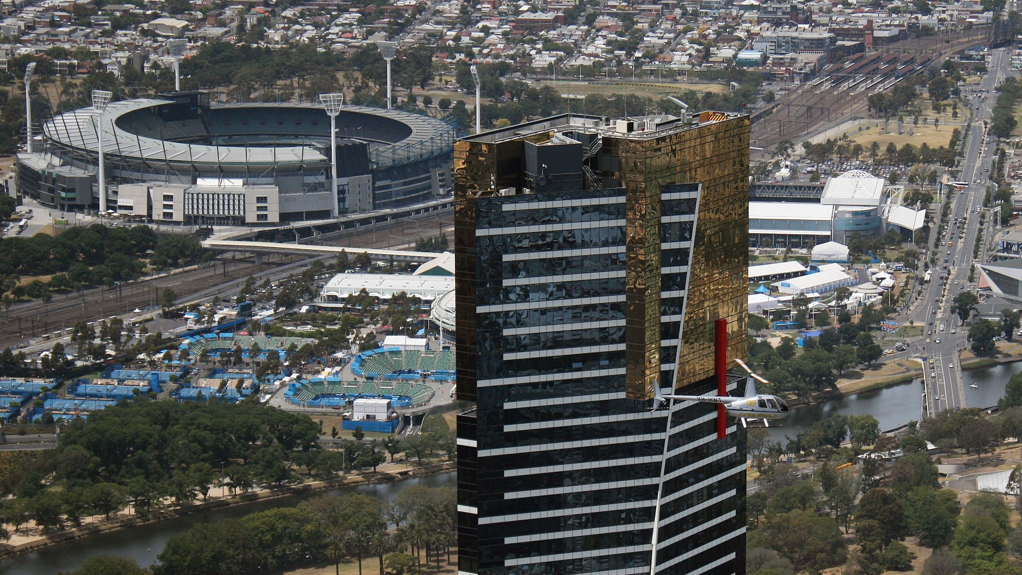 mcg and eureka seen from helicopter