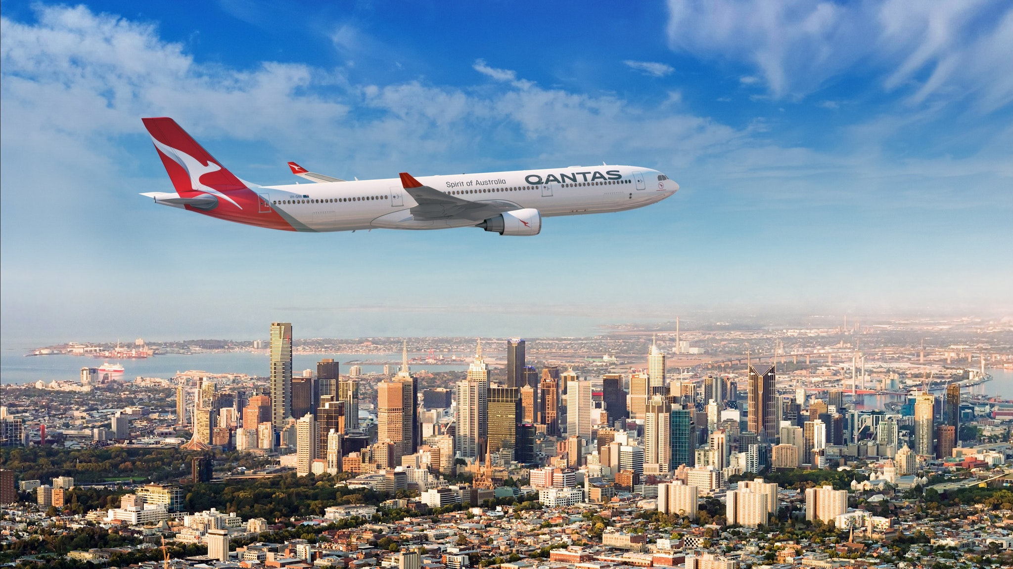 Qantas aircraft over Melbourne