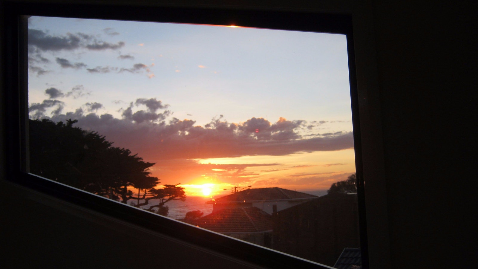 Sunset view through the window