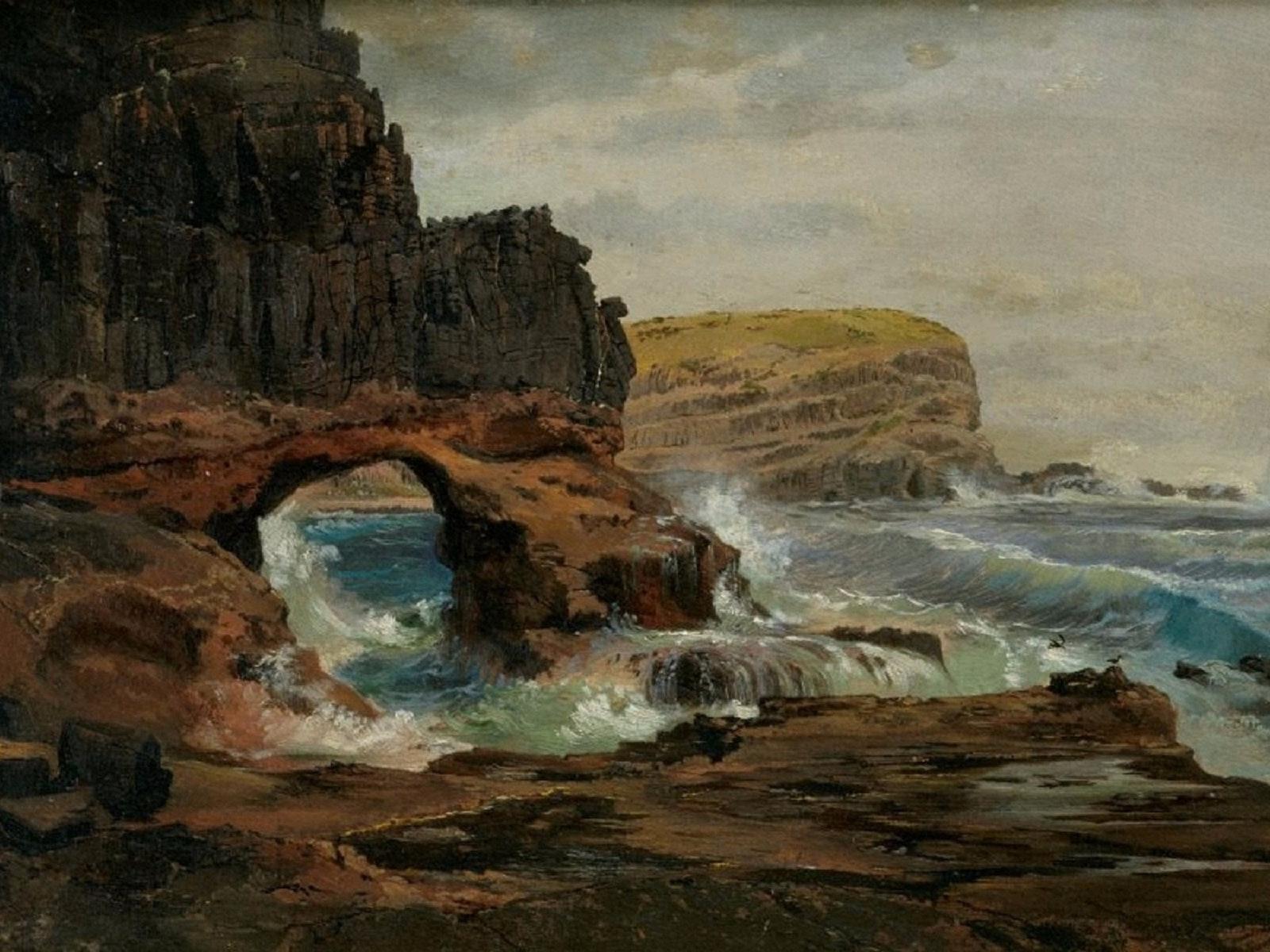 Nicholas Chevalier - Tunnel Rock, Cape Schanck, Victoria 1862