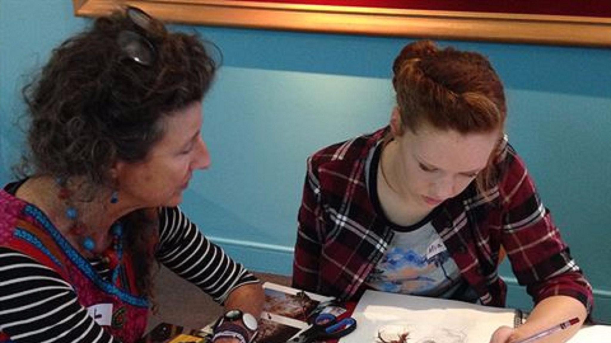 Jill Anderson tutoring student
