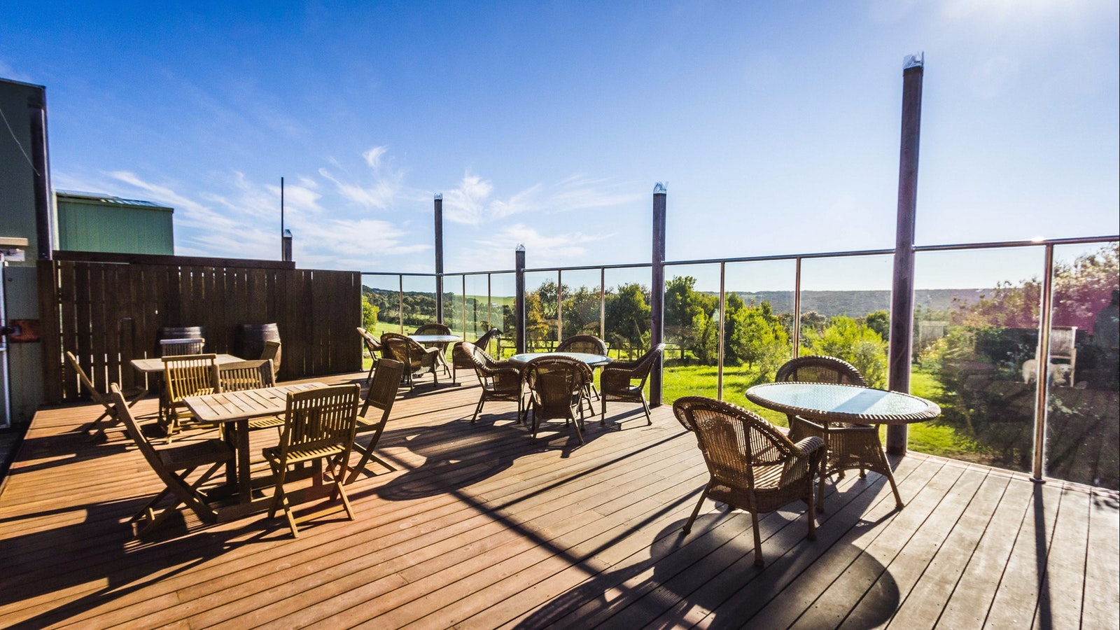 Outdoor dining deck at Nazaaray Estate Winery