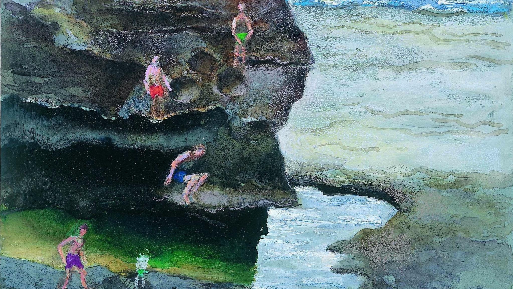 Albert Tucker, Back beach rock pool c. 1980s (detail) watercolour, gouache, pastel and mixed media o