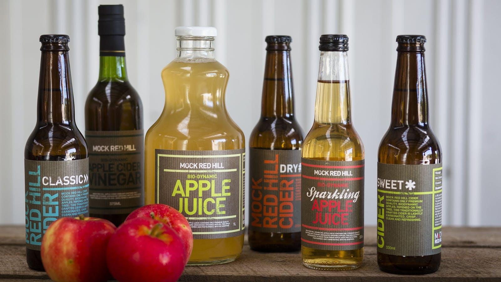 Apple cider vinegar, freshly crushed apple cider, apple juice and sparkling apple juice