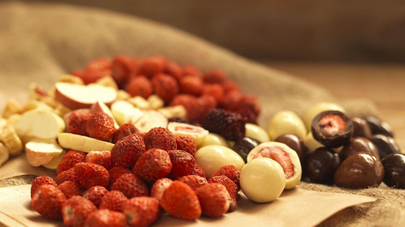 Freeze dried raspberries and strawberries in chocolate