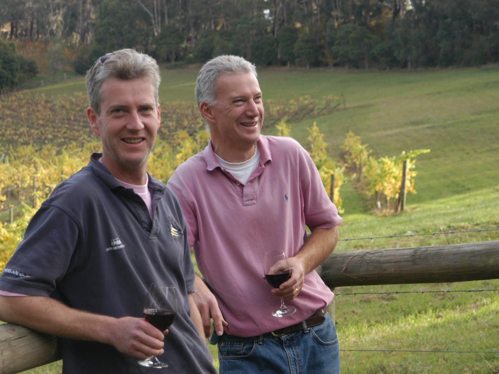 Lee brothers outside their cellar door