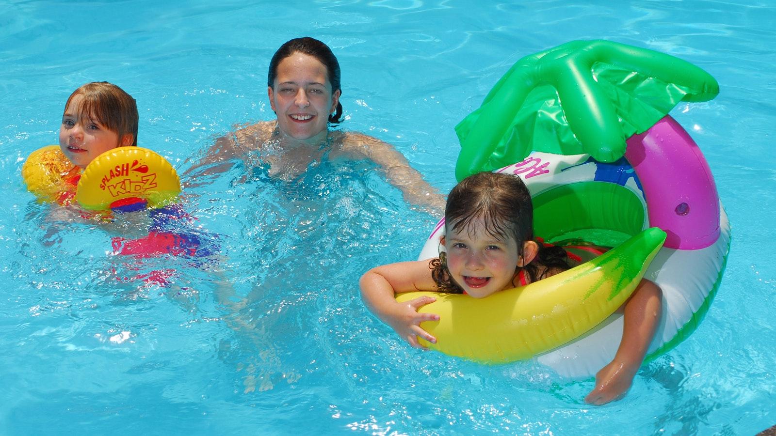 Having fun in the indoor heated pool