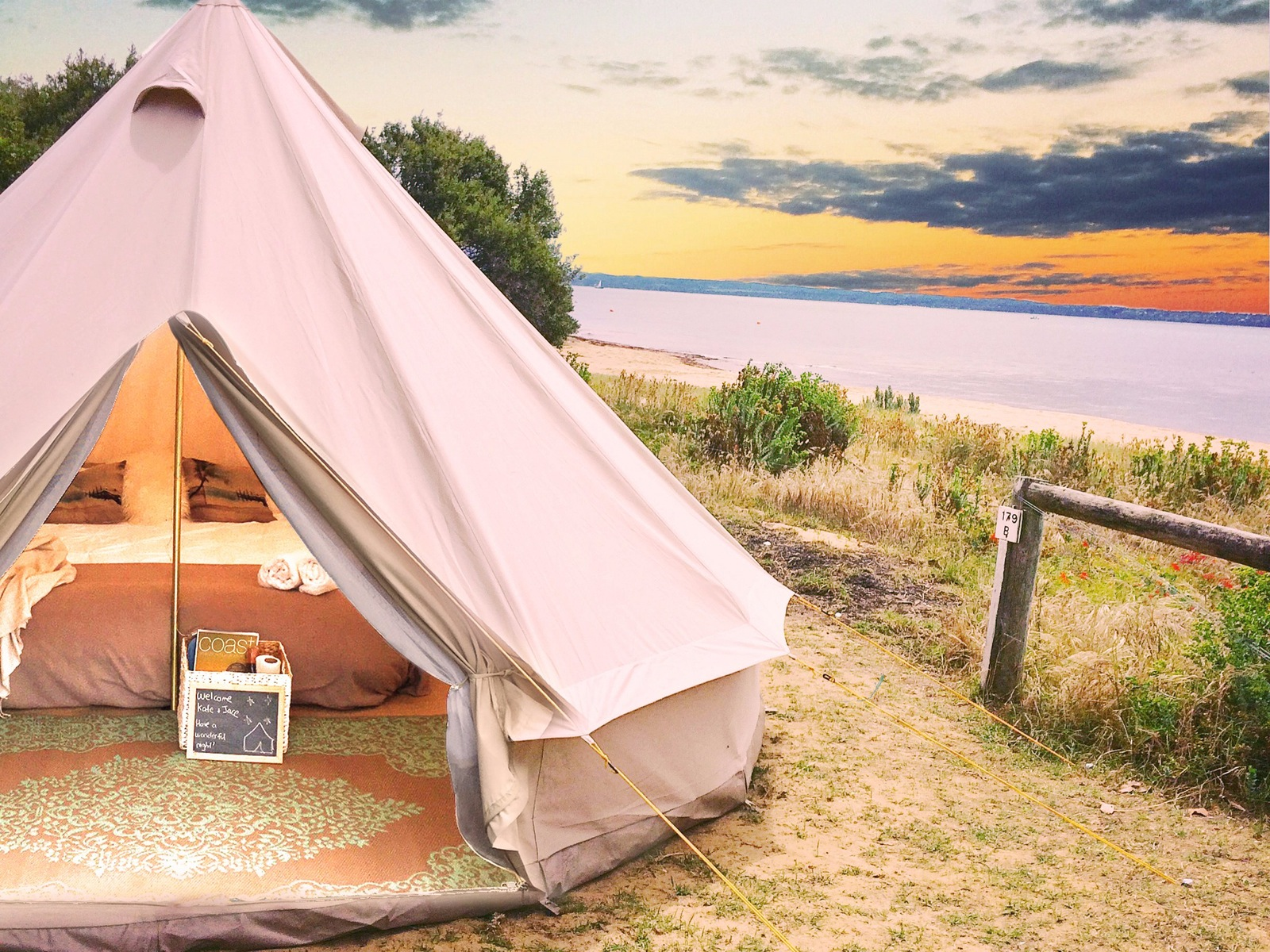 One of the 4m bell tents at beautiful Cowes Caravan Park & Glamping Accommodation Victoria Australia