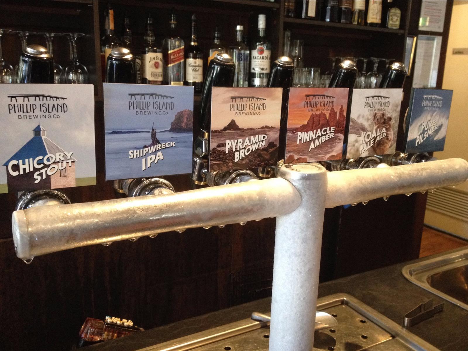 Beer Taps showing Phillip Island Brewery Beers