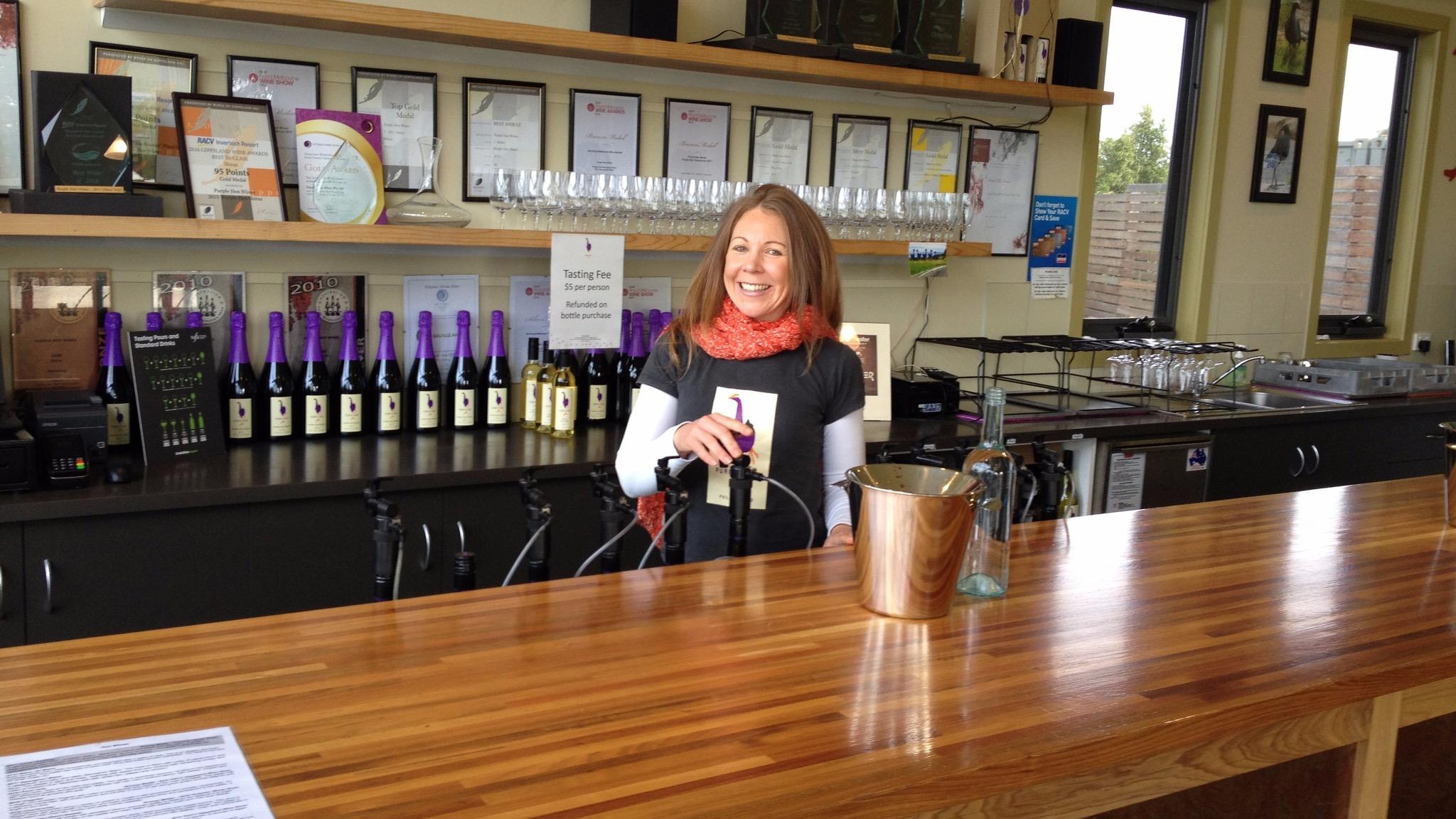 Image of wine tasting area at Purple Hen Winery