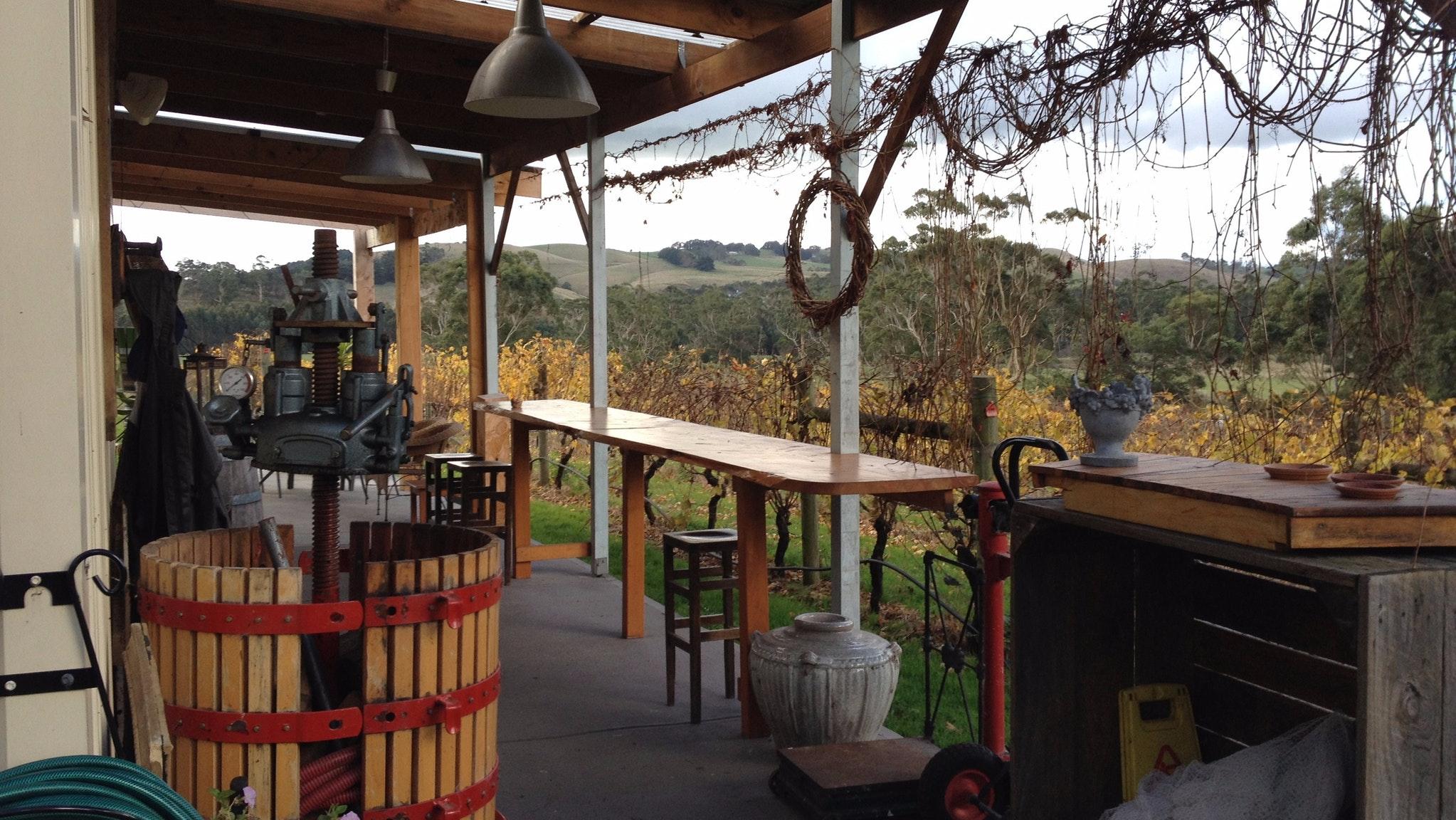Patio overlooking vineyard at Gippsland Wine Company