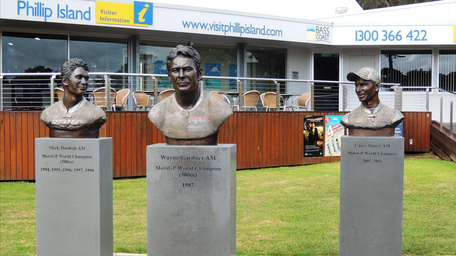 MotoGP legends busts at Phillip Island Visitor Information Centre