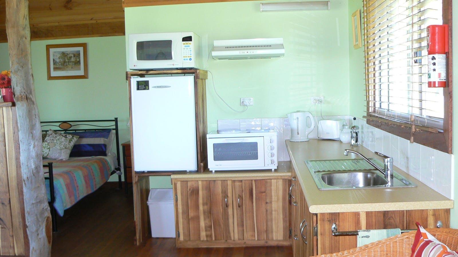Kitchen area of Treecreeper Cottage