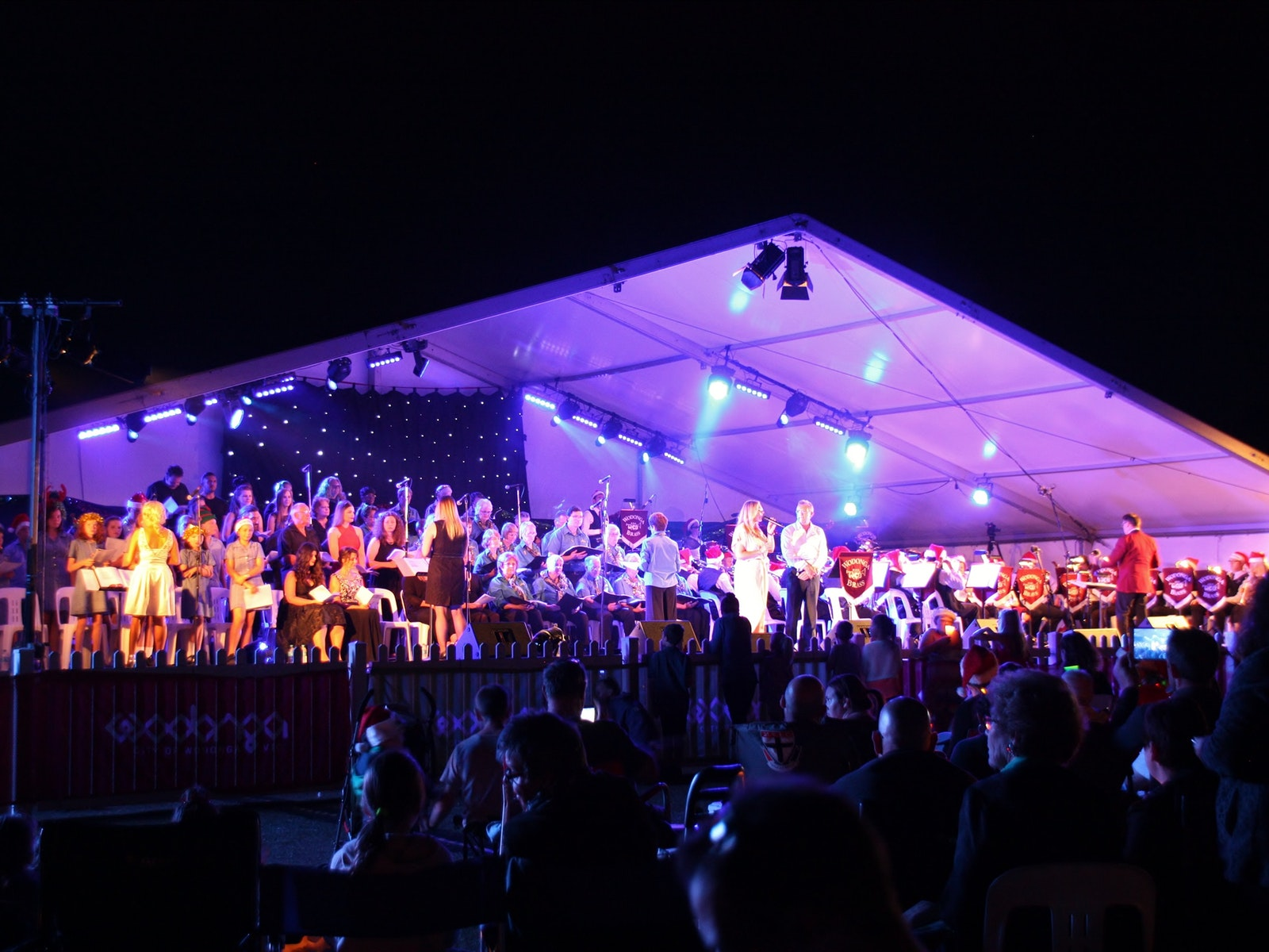 Photo of the stage and layout for Wodonga Carols by Candlight.