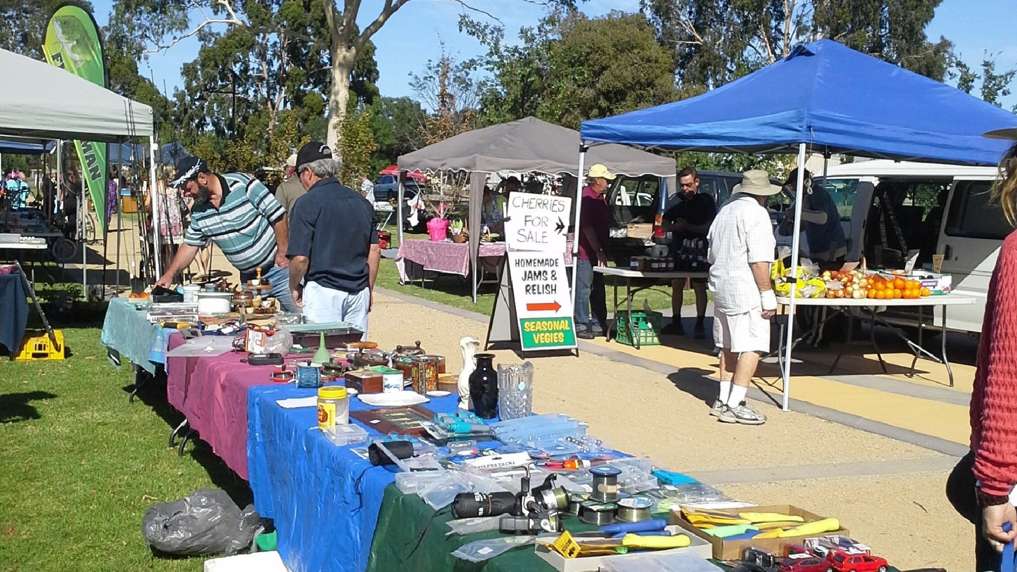 Stalls at the Cobram Lions Log Cabin Market