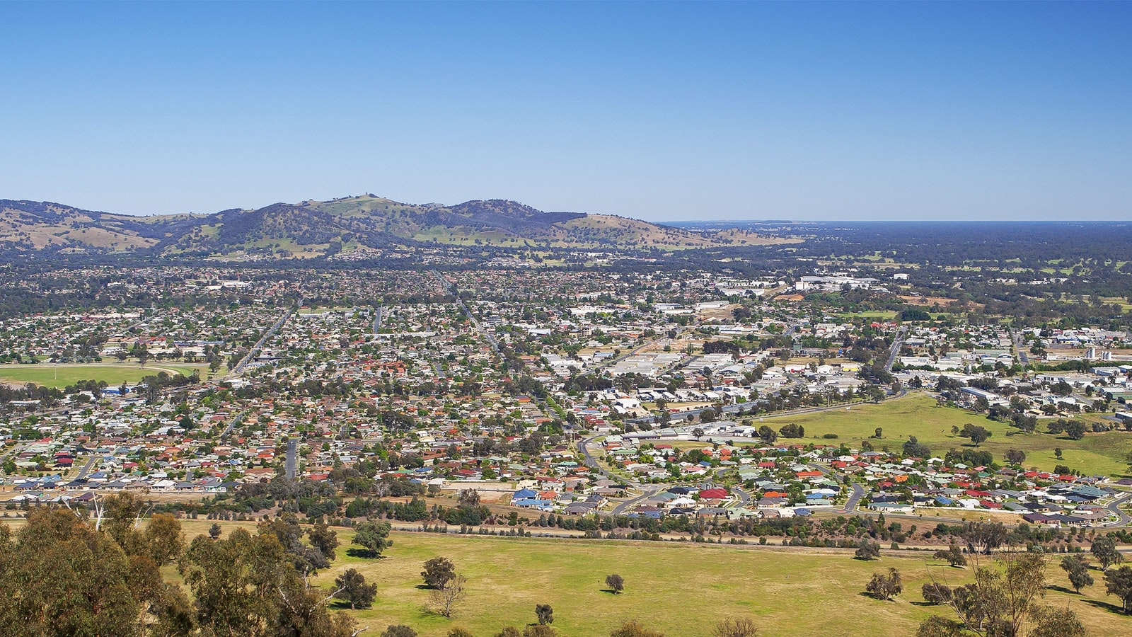 View of Wodonga from Huon Hill