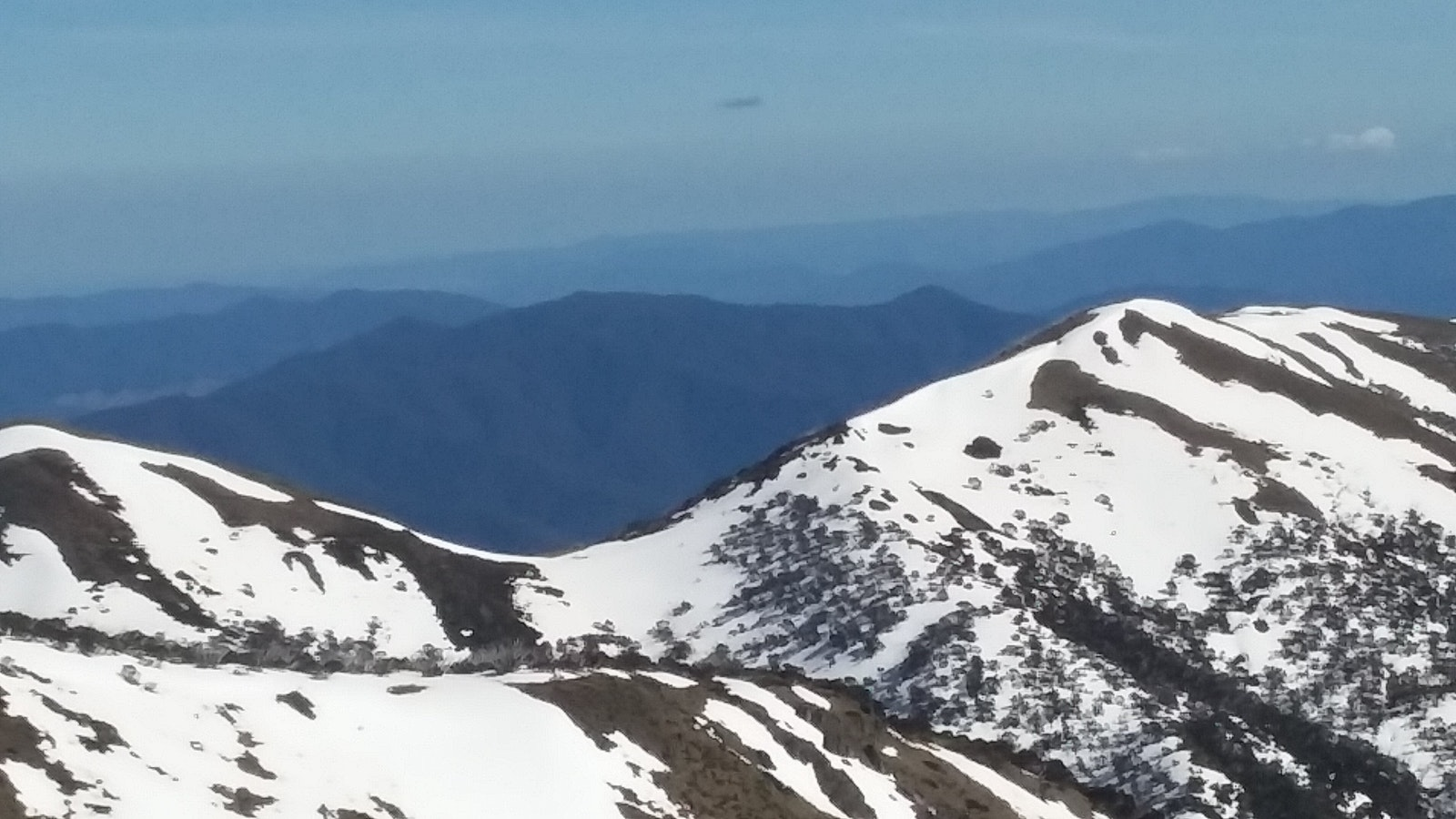 Cycling above the snowline at Mt Hotham