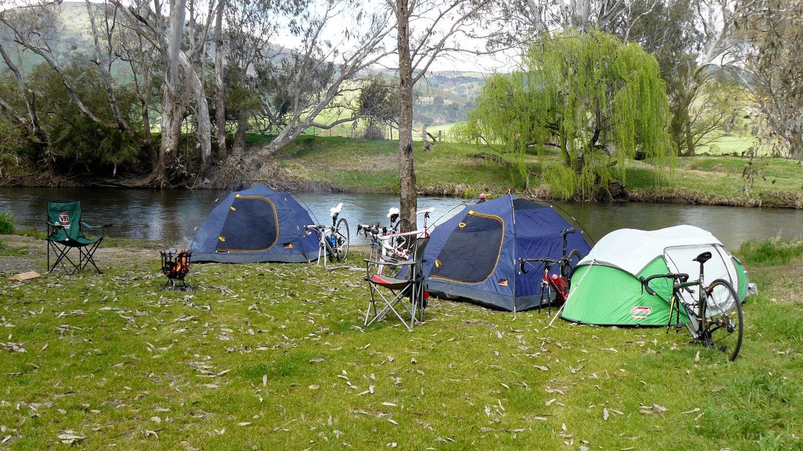 Base camp beside Mitta Mitta River