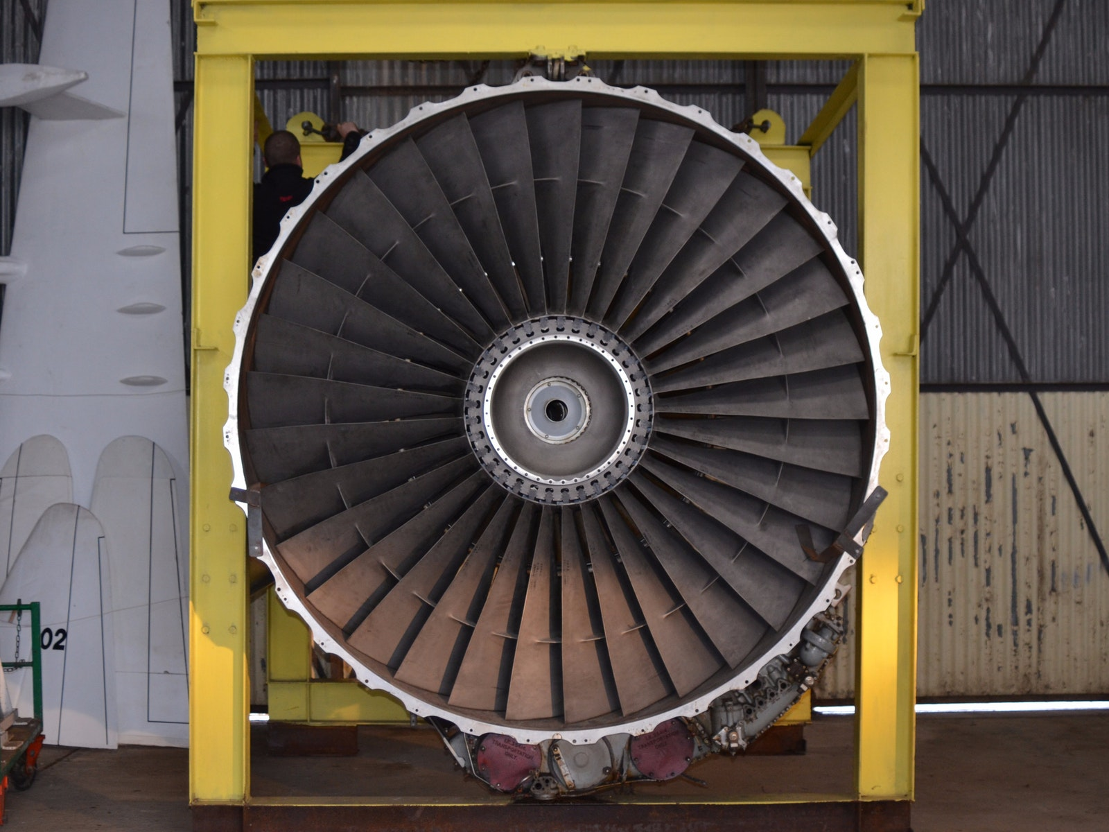 747 engine located in hangar 8