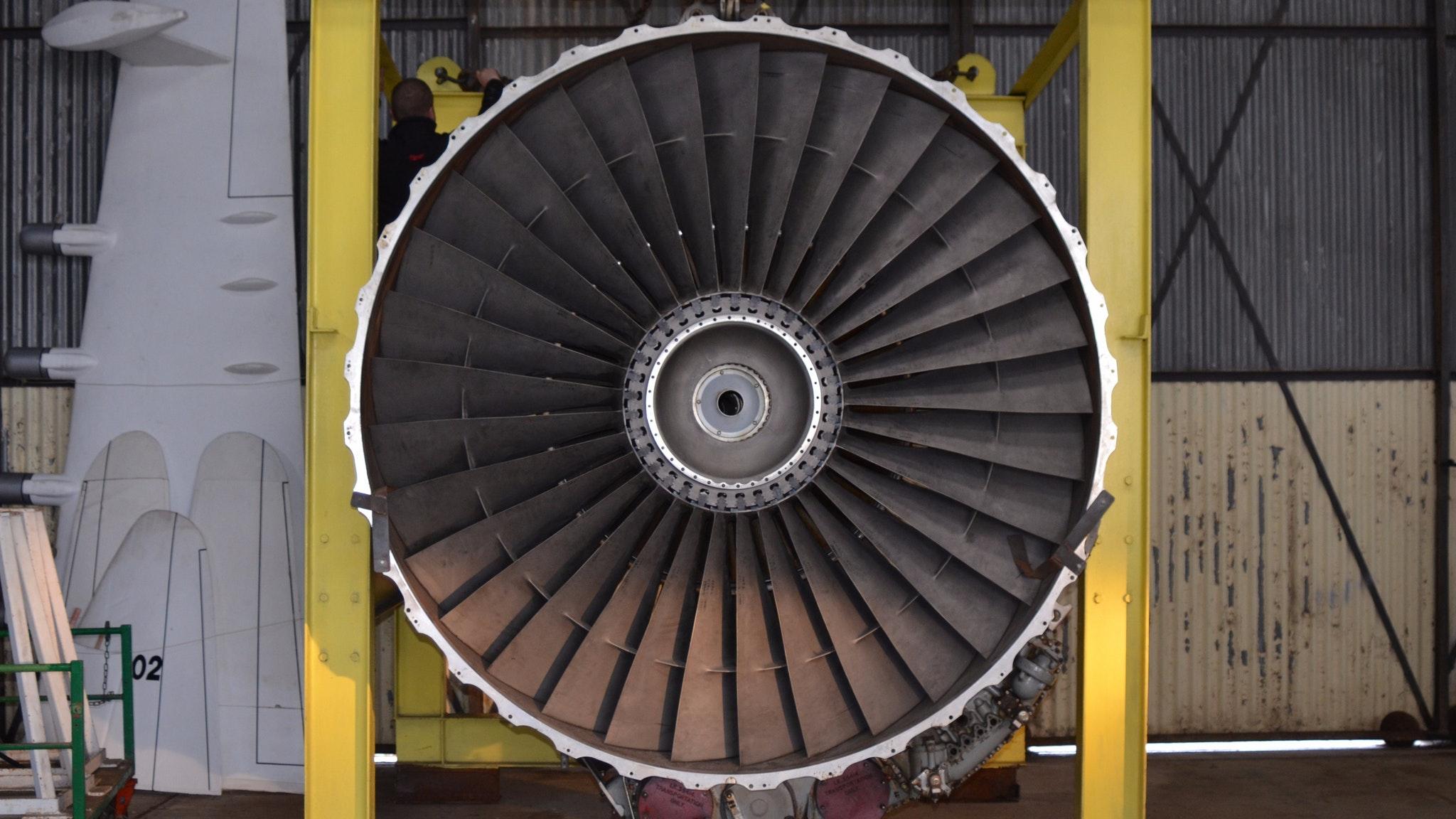 747 engine located in hangar 8