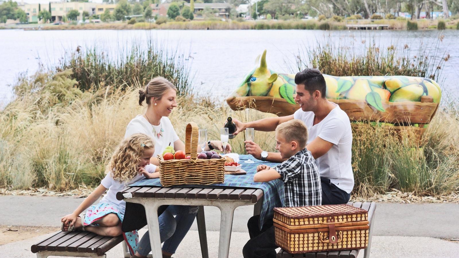 Picnic facilities, Victoria Park Lake, include accessible picnic tables