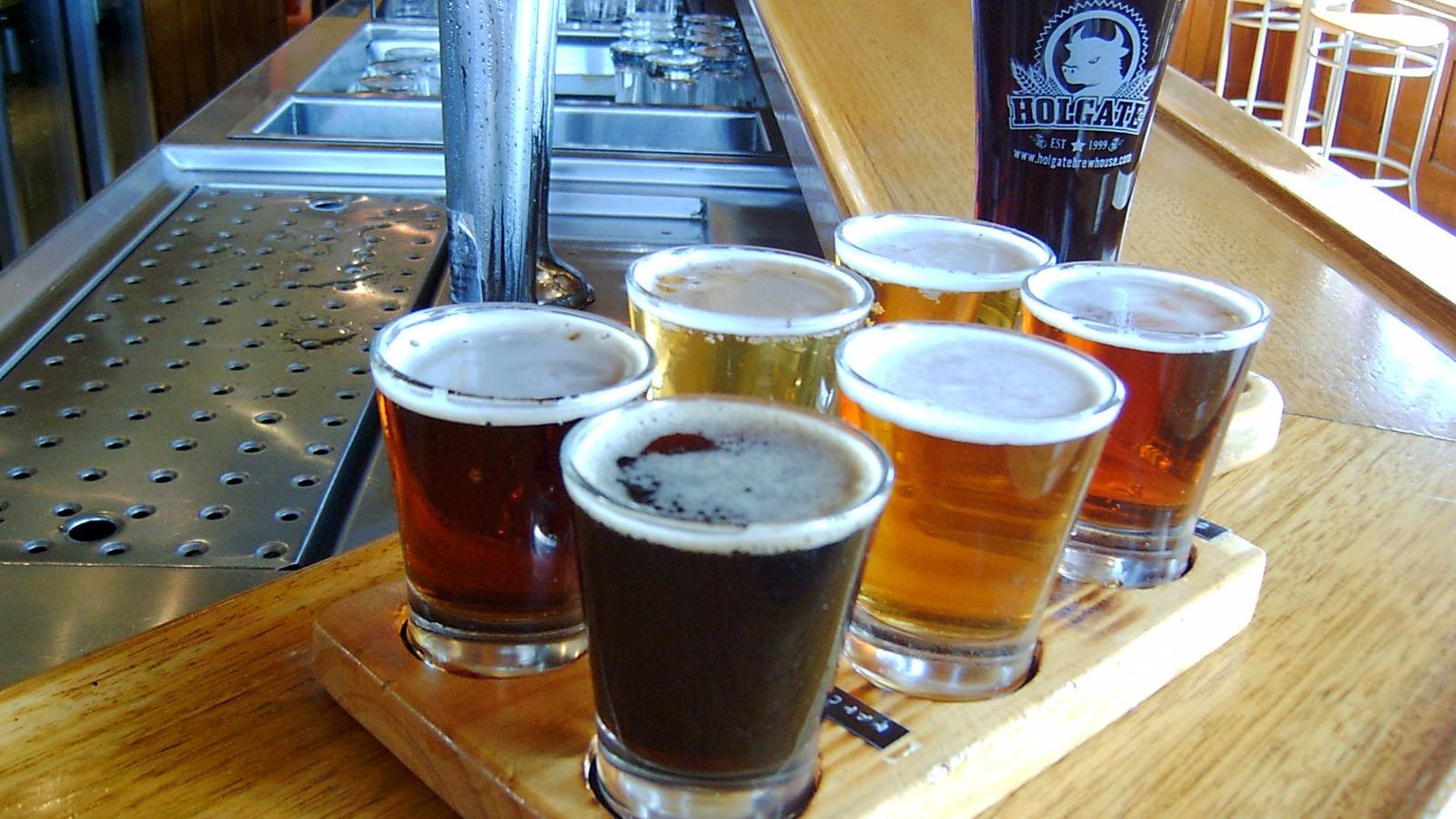 Holgate Hotel beer tasting paddle