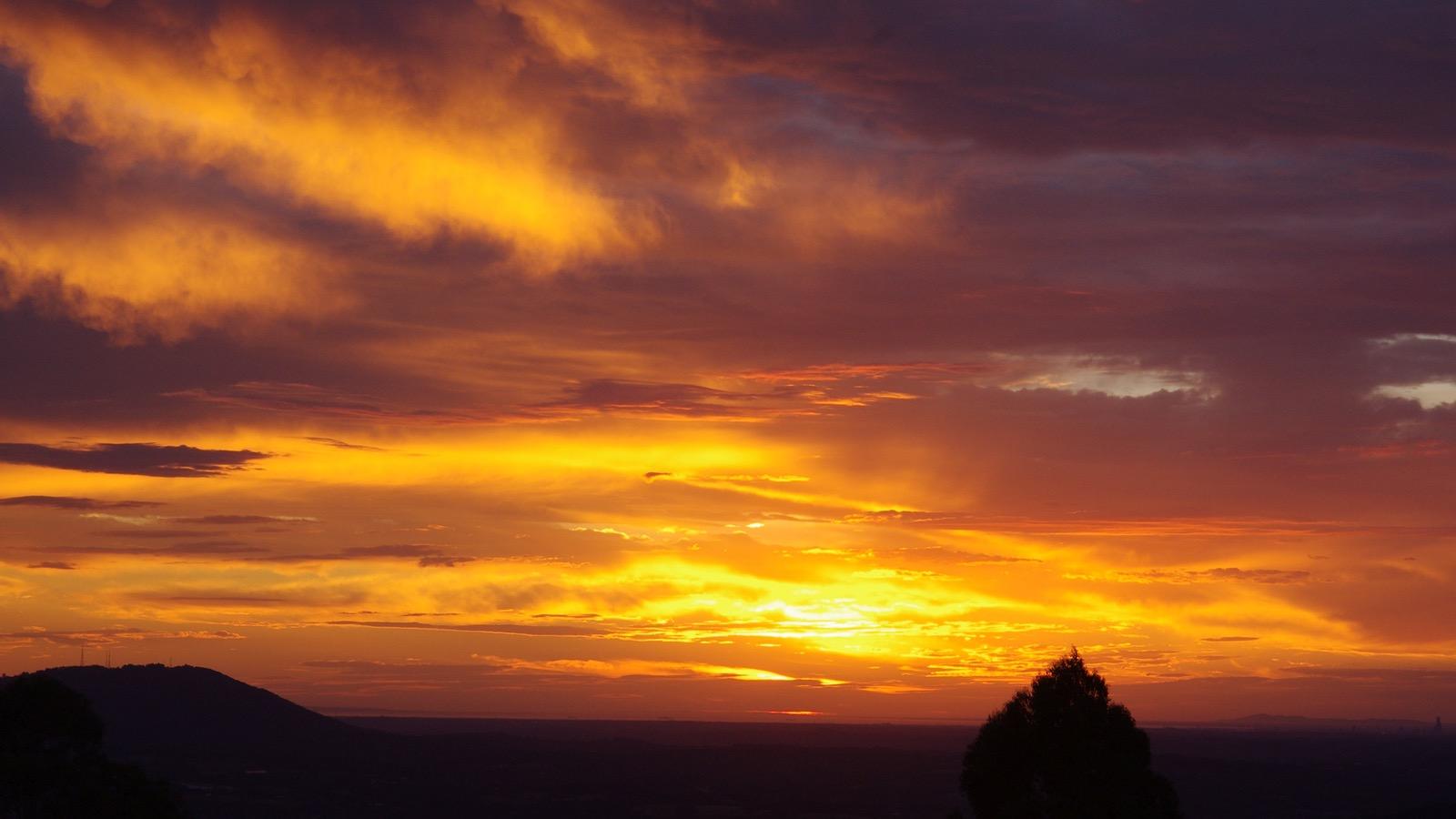 Sunset at Lyrebird Cottages