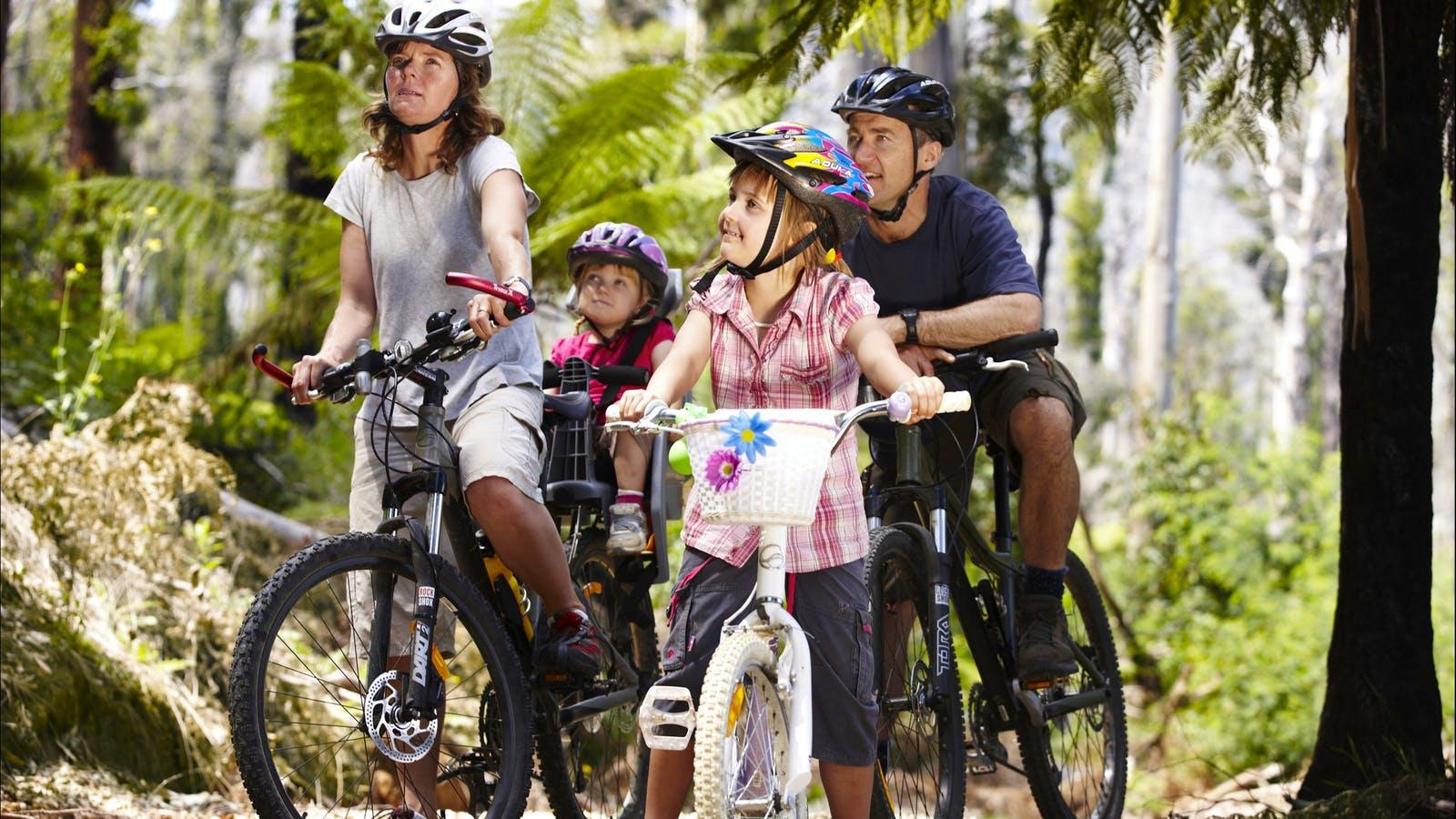 family of four enjoying bike riding in a bush setting