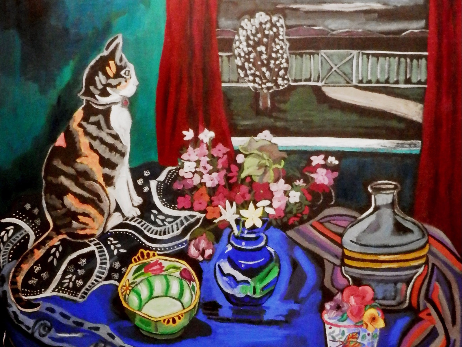 Cat and colourful table setting