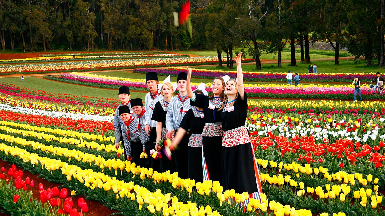 Staff dress in traditional Dutch costume.