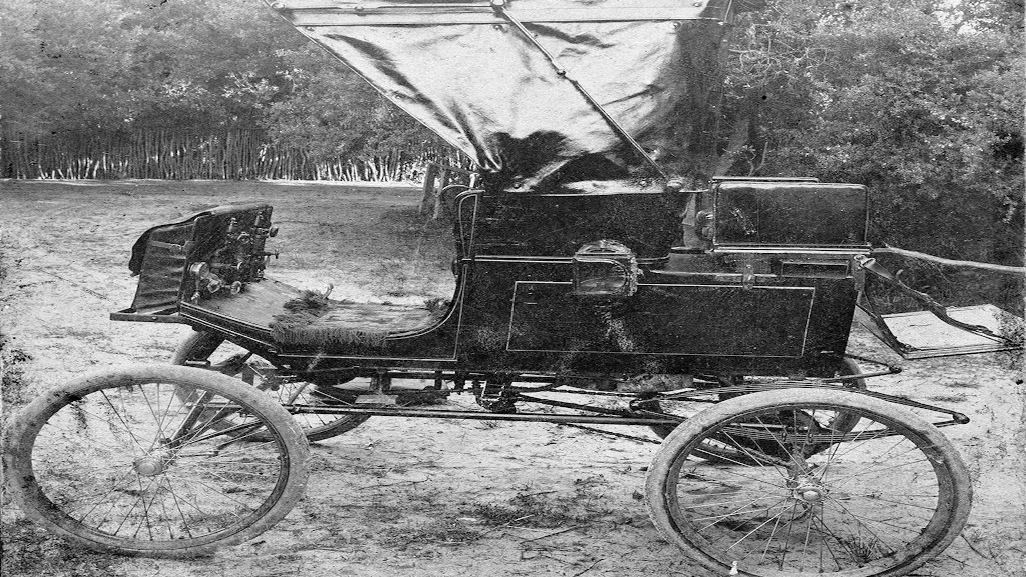 J.R Crooke's first motor vehicle, a Locomobile